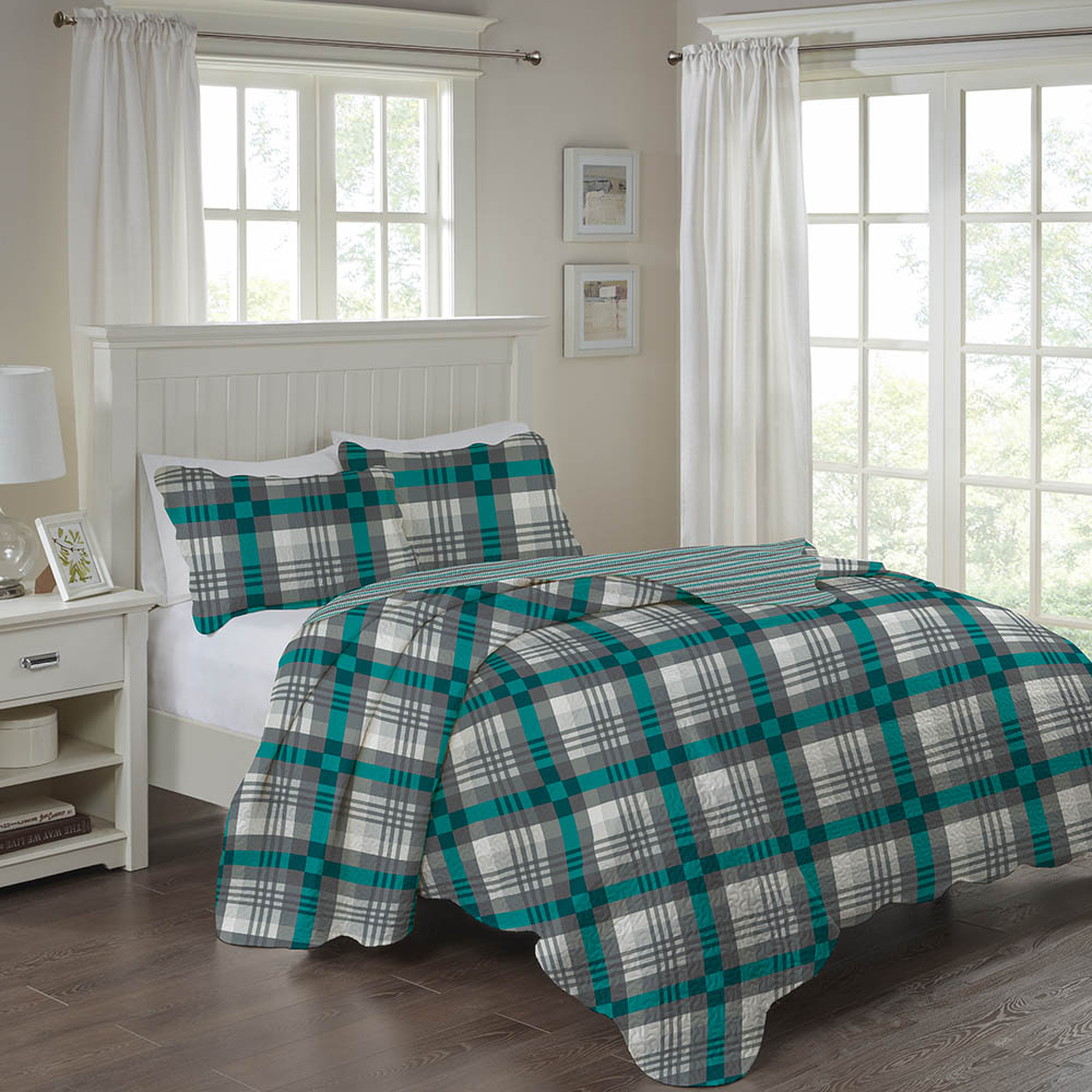 Colcha Patchwork - Casal - Dupla Face - C/ Porta Travesseiros - Luciano - Corttex