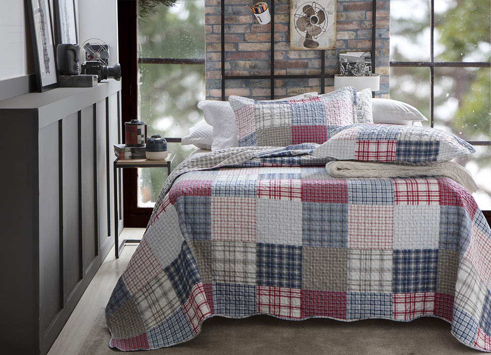 Colcha Patchwork - Casal - Dupla Face - C/ Porta Travesseiros - Piccadilly 8 - Rozac
