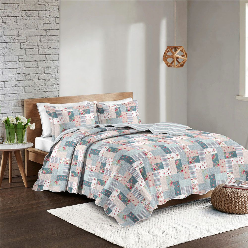 Colcha Patchwork - King Size - Dupla Face - C/ Porta Travesseiros - Lavima - Camesa