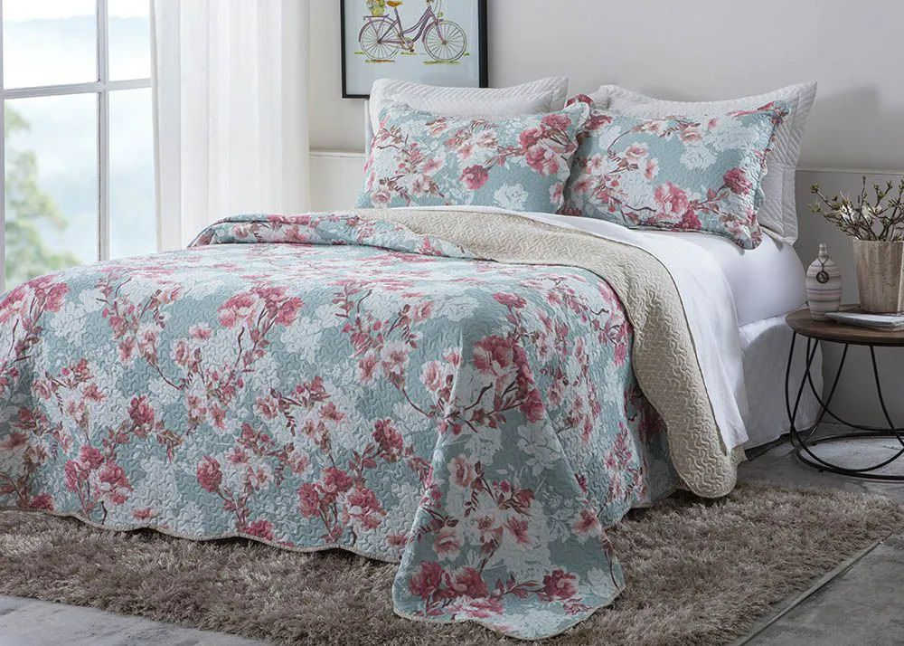 Colcha Patchwork - King Size - Dupla Face - C/ Porta Travesseiros - Paulin - Corttex