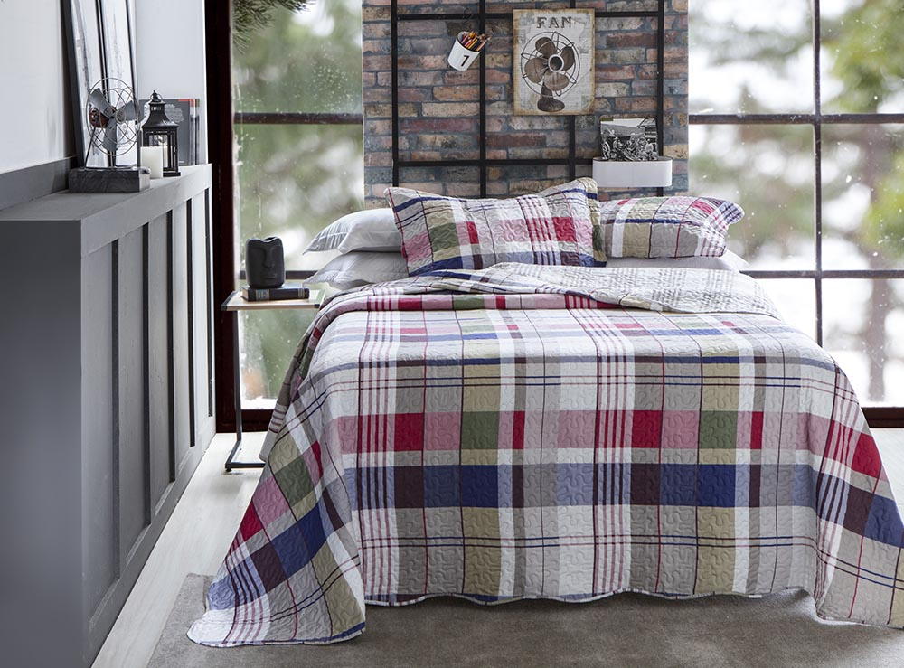 Colcha Patchwork - King Size - Dupla Face - C/ Porta Travesseiros - Piccadilly 2 - Rozac