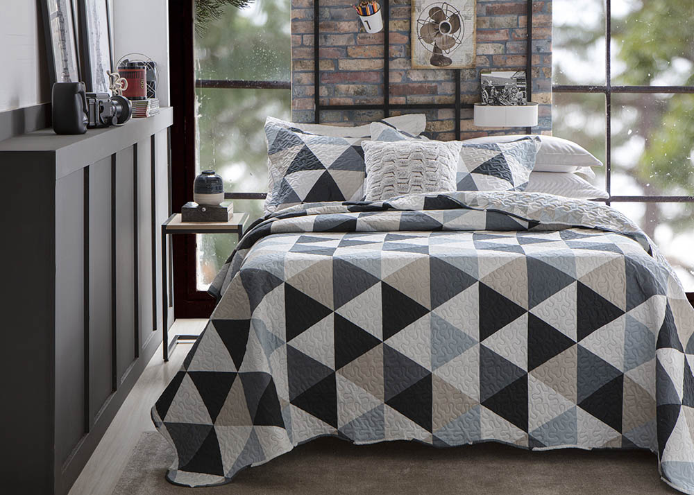 Colcha Patchwork - King Size - Dupla Face - C/ Porta Travesseiros - Piccadilly 7 - Rozac