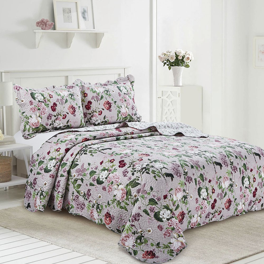 Colcha Patchwork - King Size - Dupla Face - C/ Porta Travesseiros - Pigale - Camesa