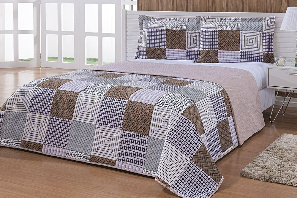 Colcha Patchwork - Queen Size - Dupla Face - C/ Porta Travesseiros - Alba 4 - Niazitex