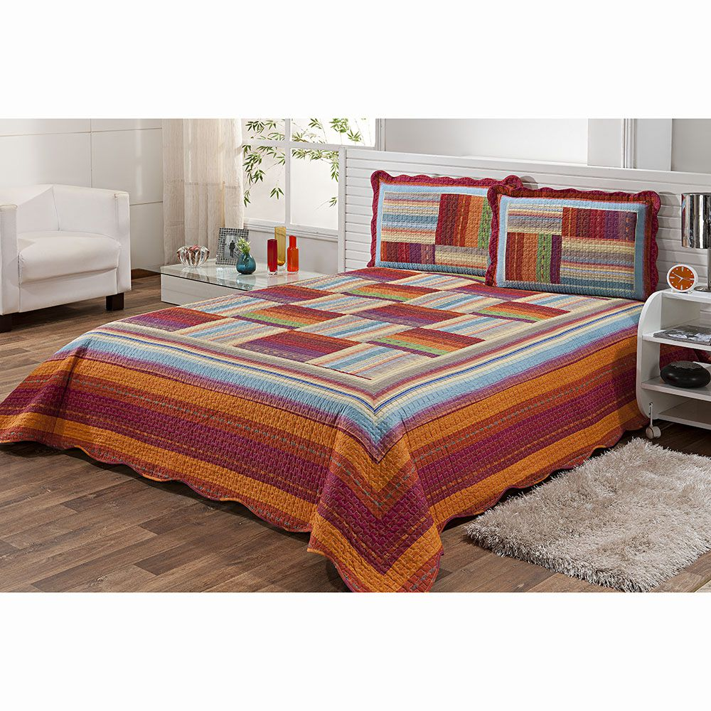Colcha Patchwork - Queen Size - Dupla Face - C/ Porta Travesseiros - Geométrica - Niazitex