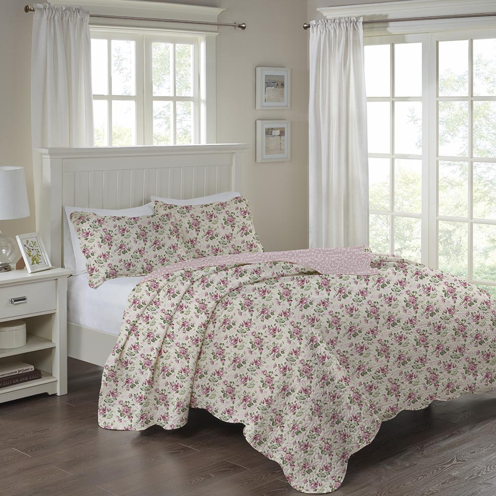 Colcha Patchwork - Queen Size - Dupla Face - C/ Porta Travesseiros - Laisa - Corttex