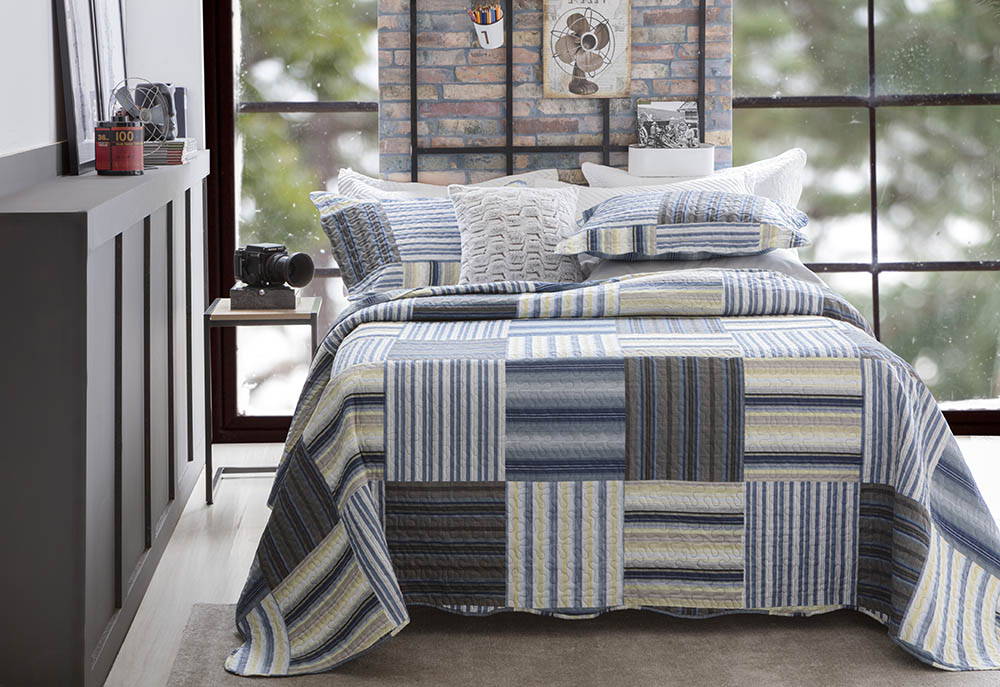 Colcha Patchwork - Queen Size - Dupla Face - C/ Porta Travesseiros - Piccadilly 5 - Rozac