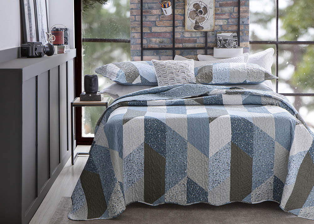 Colcha Patchwork - Queen Size - Dupla Face - C/ Porta Travesseiros - Piccadilly 6 - Rozac