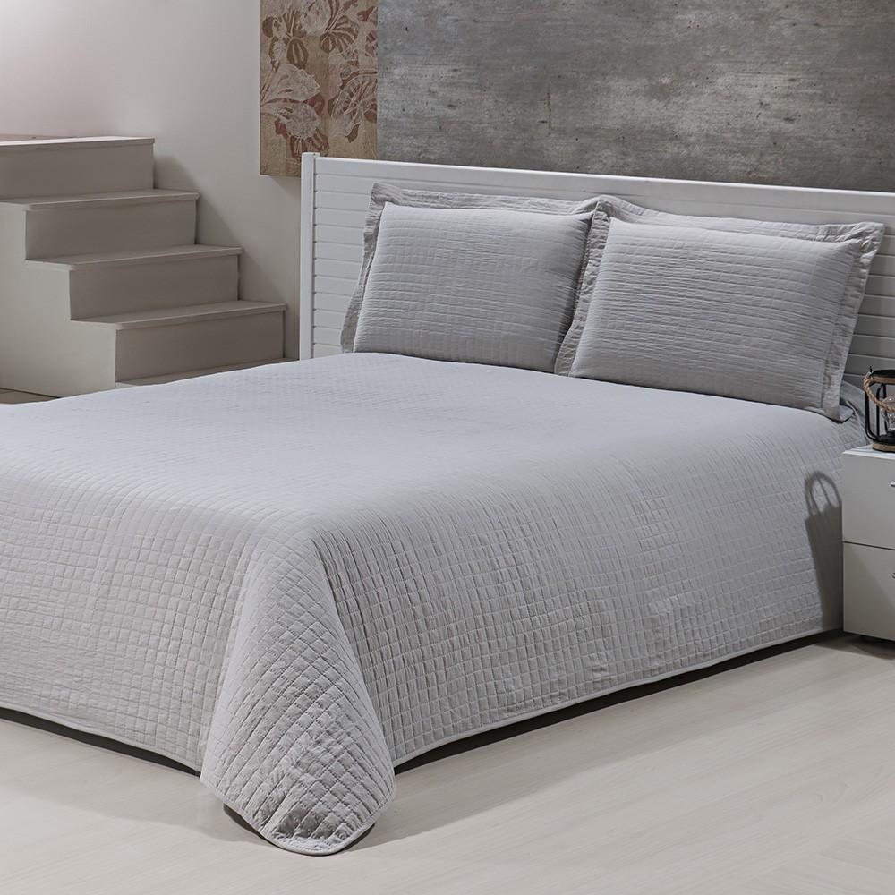 Colcha Percal Soft 300 - King Size - Bouti - C/ Porta Travesseiros - Marfim - Niazitex