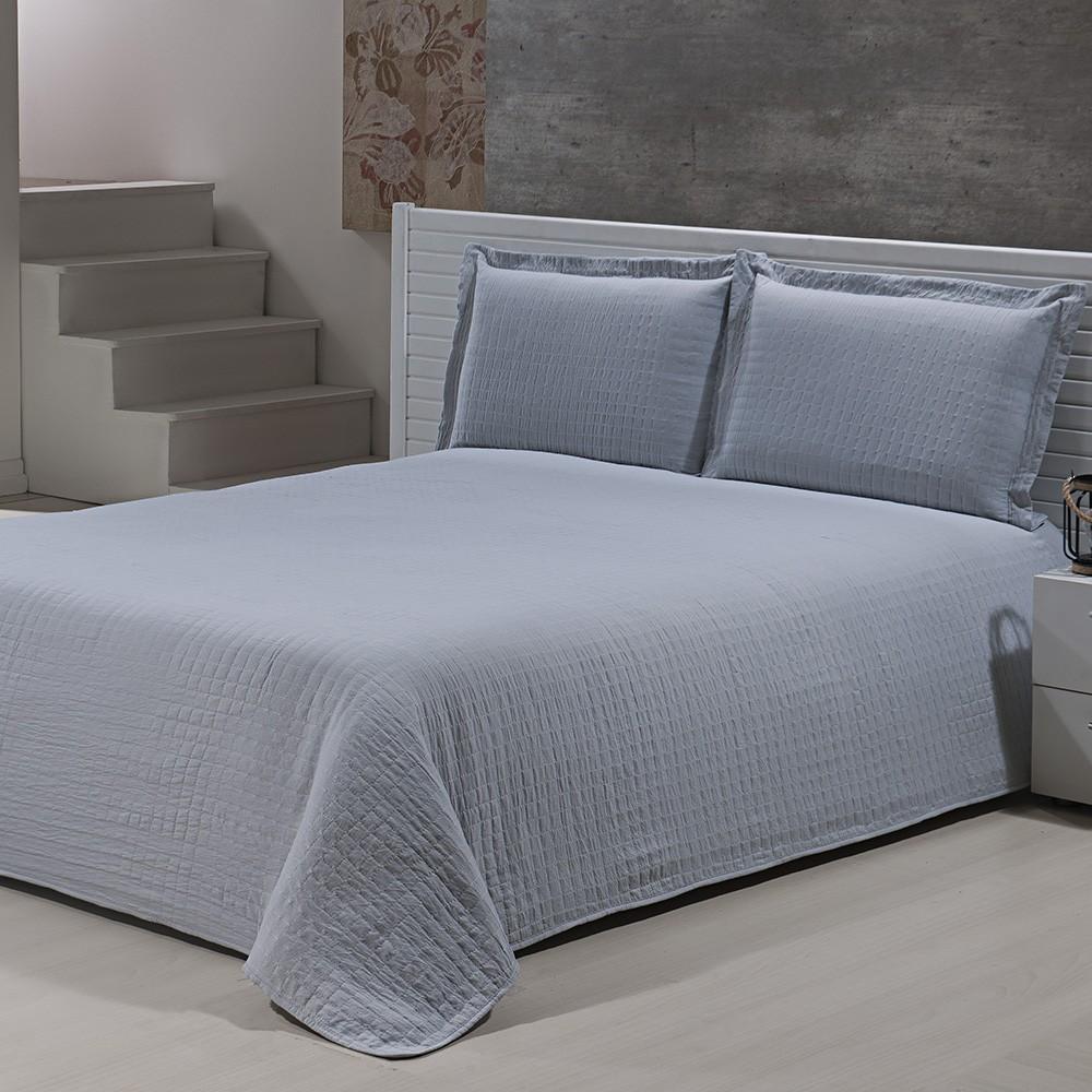 Colcha Percal Soft 300 - King Size - Bouti - C/ Porta Travesseiros - Prata - Niazitex