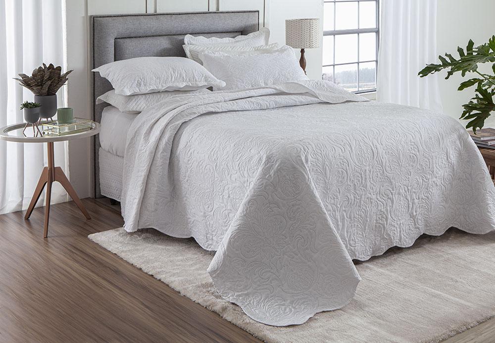 Colcha Ultrassônica - Casal - Classic - C/ Porta Travesseiros - Branco - Rozac