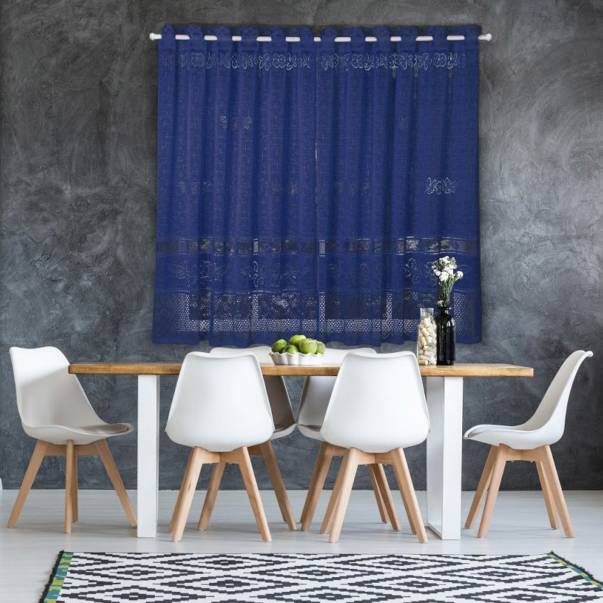 Cortina de Renda - Color - Azul - 2,20m x 1,30m - P/ Varão - Interlar