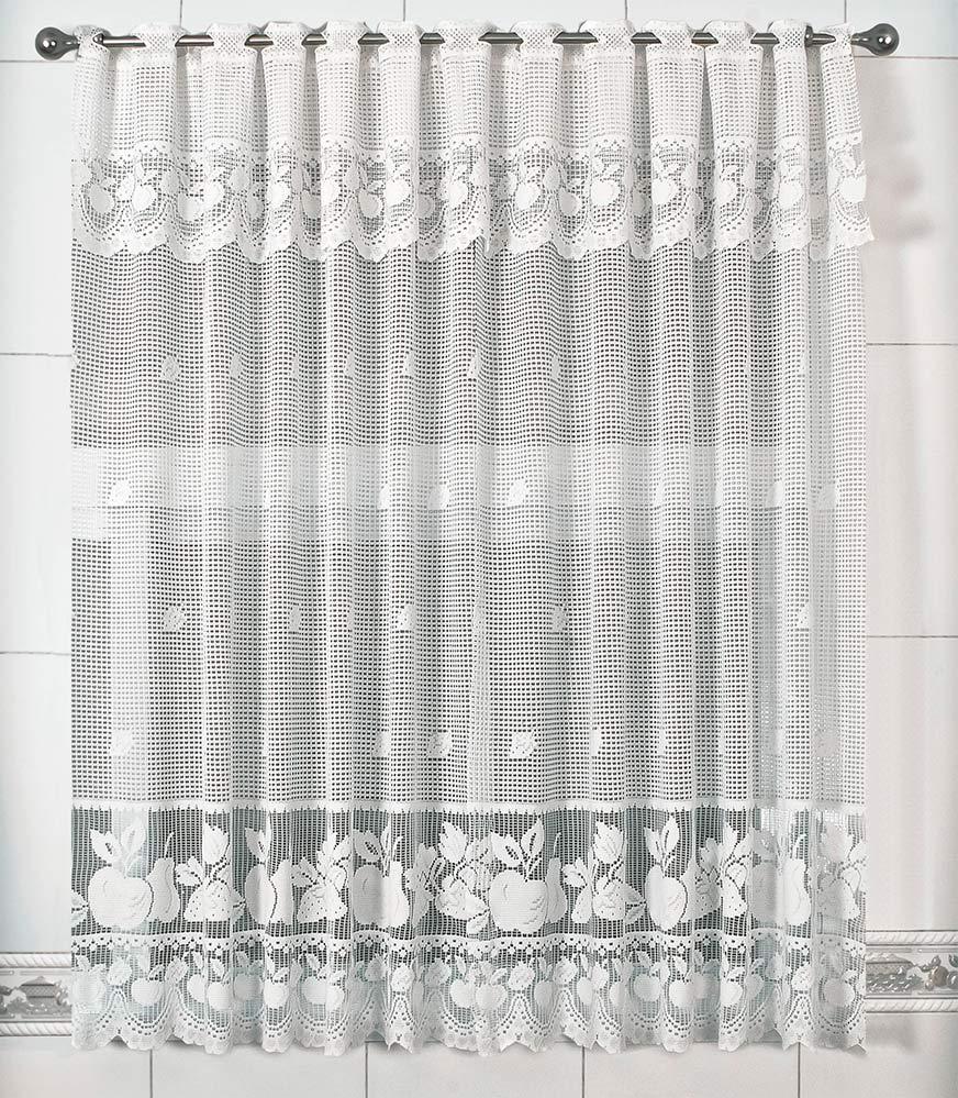 Cortina de Renda - Copa e Cozinha - Maçã - Branco - 2,20m x 1,20m - P/ Varão - Cortilester