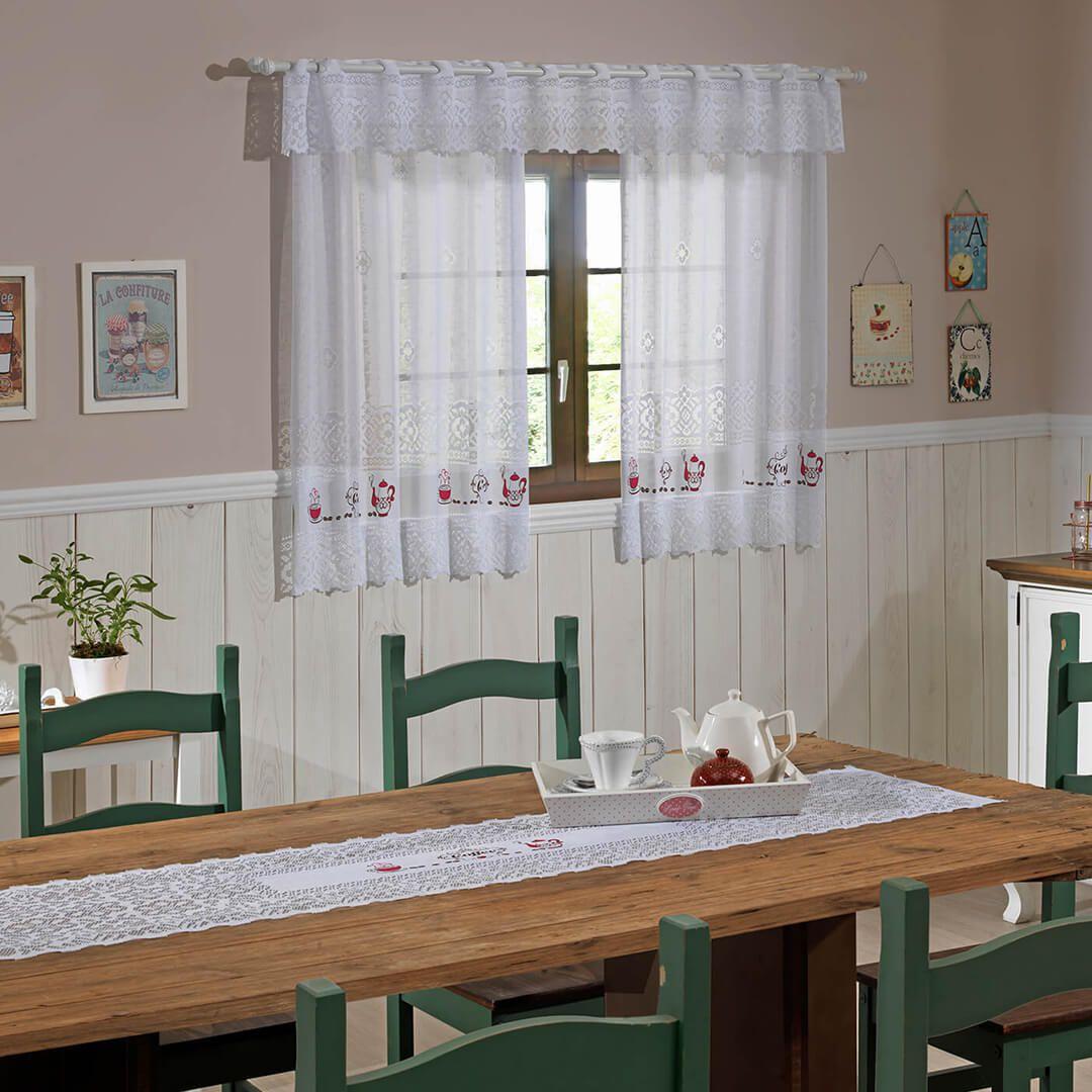 Cortina de Renda - Valência - Café - 2,00m x 1,20m - P/ Varão - Interlar