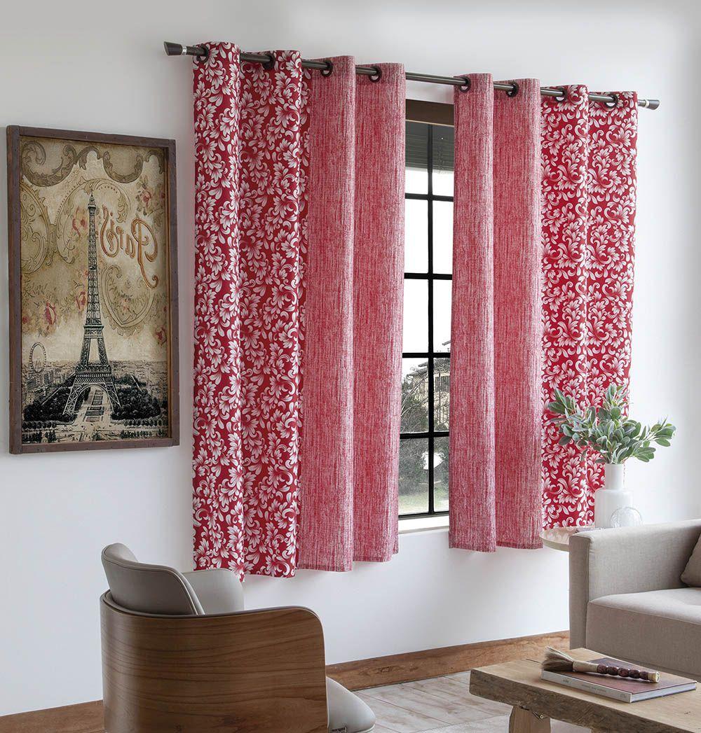 Cortina Estampada - Alice Vermelha - 2,80m x 1,80m - P/ Varão - Sultan
