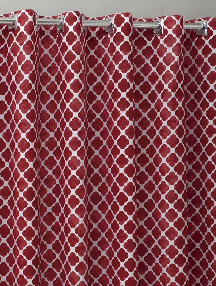 Cortina Estampada - Georgia Vermelho - 4,00m x 2,40m - P/ Varão - Sultan