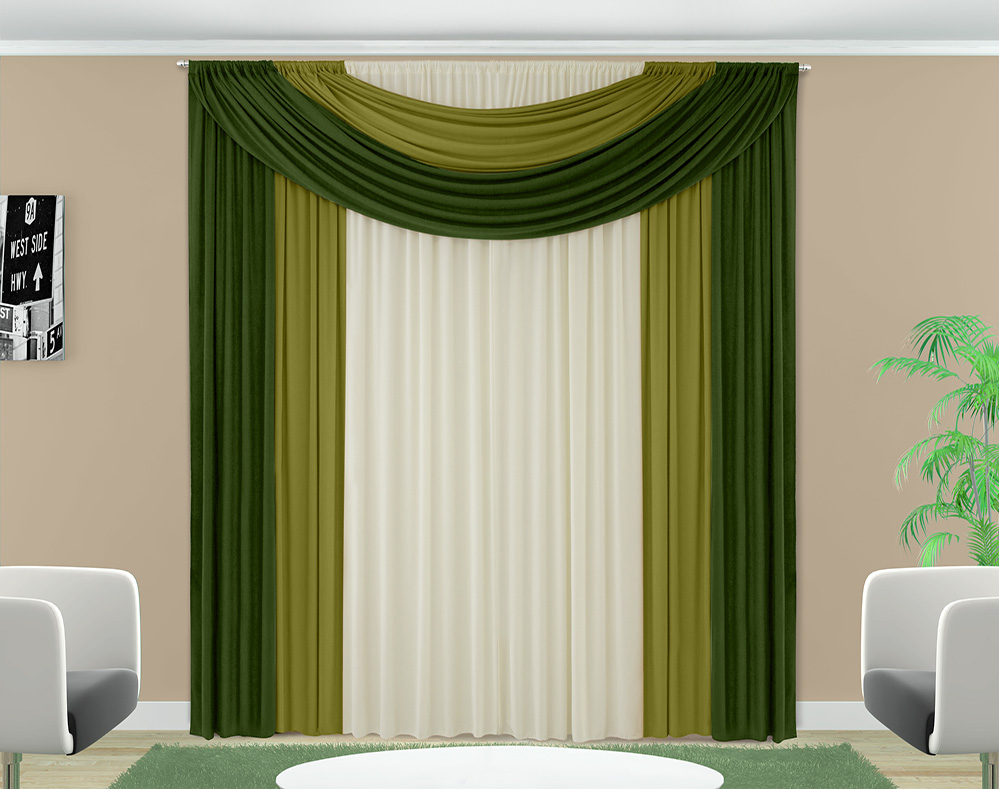 Cortina Ester - Malha - Quarto e Sala - 2,00m x 1,70m - Verde Musgo - Adomes