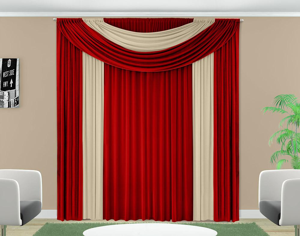Cortina Ester - Malha - Quarto e Sala - 3,00m x 2,50m - Vermelho - Adomes
