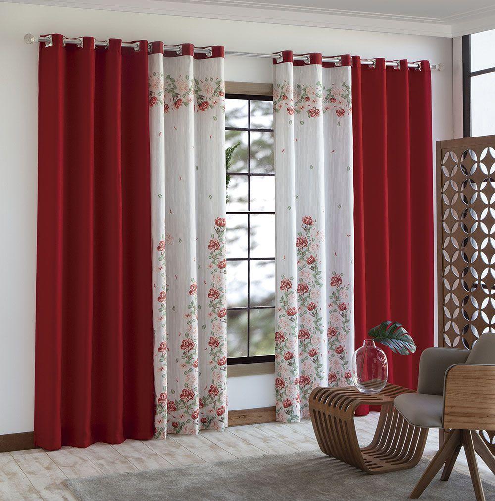 Cortina Peru - Vermelha -  4,60m x 2,50m - P/ Varão - Sultan