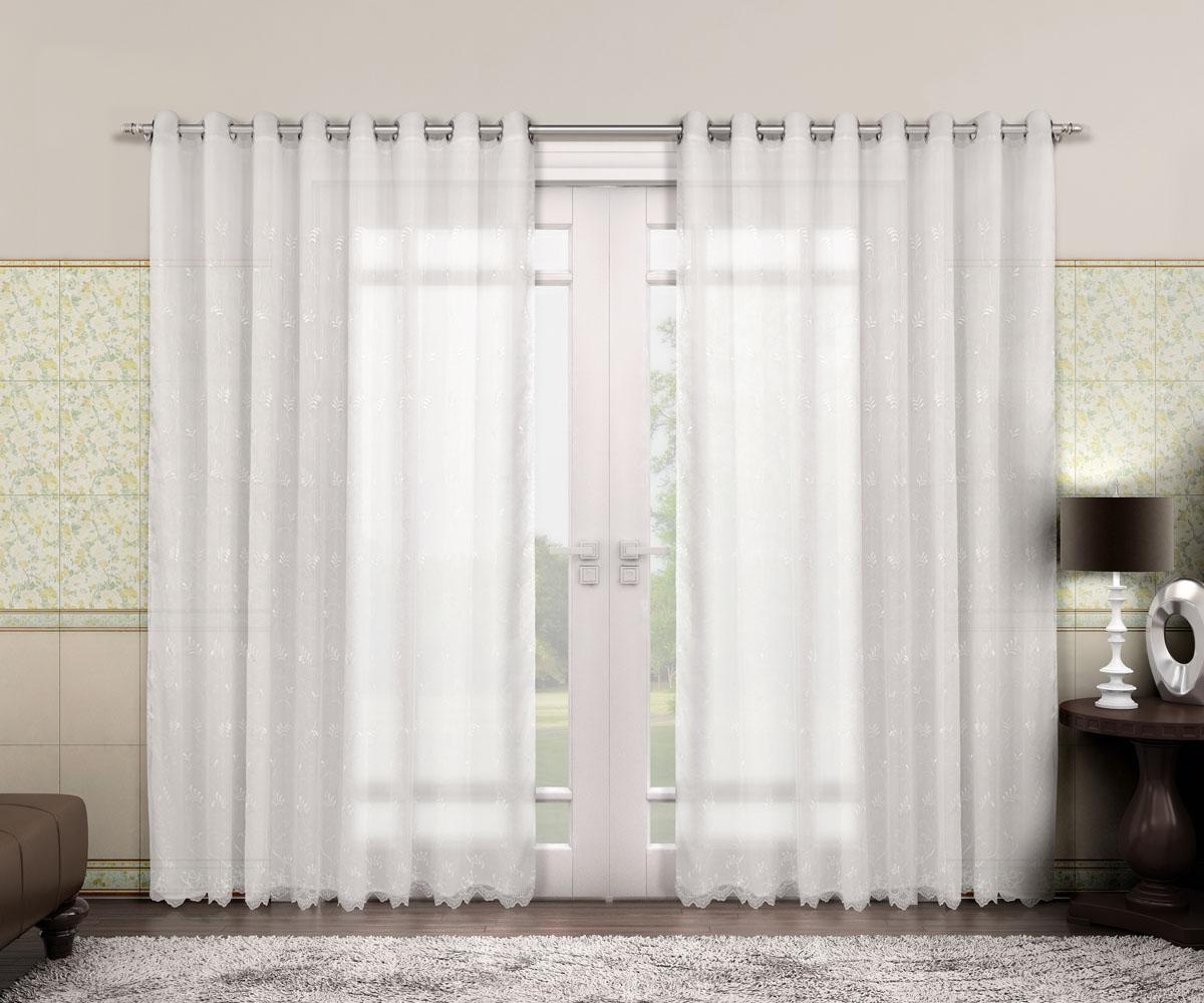 Cortina Voil Bordado - Renascença - Branca - 5,40m x 2,50m - P/ Varão - Adomes