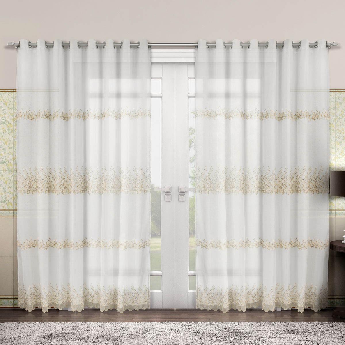 Cortina Voil Bordado - Renascença - Ouro - 4,00m x 2,50m - P/ Varão - Adomes