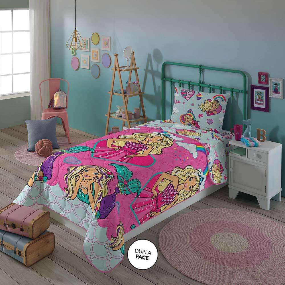 Edredom Infantil - Dupla Face - Barbie Reinos Mágicos - Microfibra - Lepper