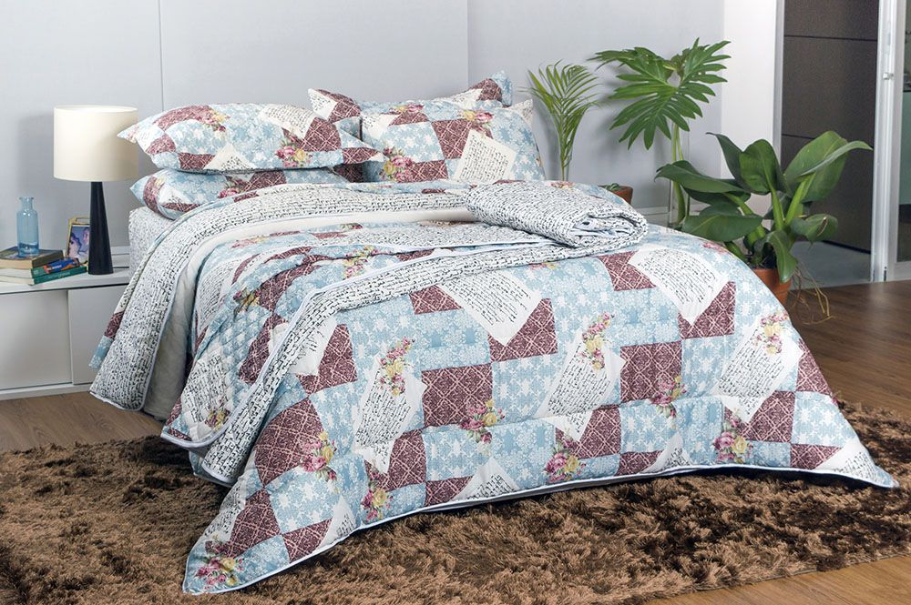 Edredom - Queen Size - Dupla Face - Patchwork - Sultan