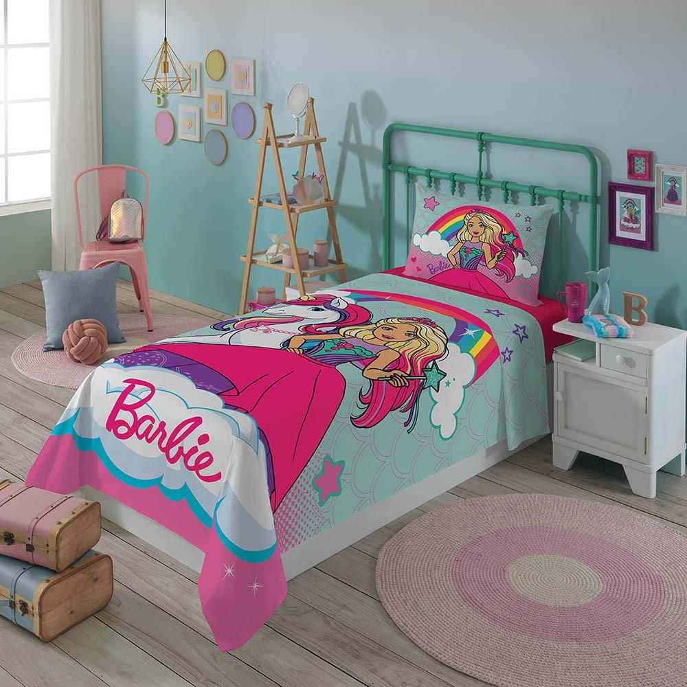 Jogo de Cama Infantil - Barbie Reinos Mágicos Divertido - Misto - 3 Peças - Lepper