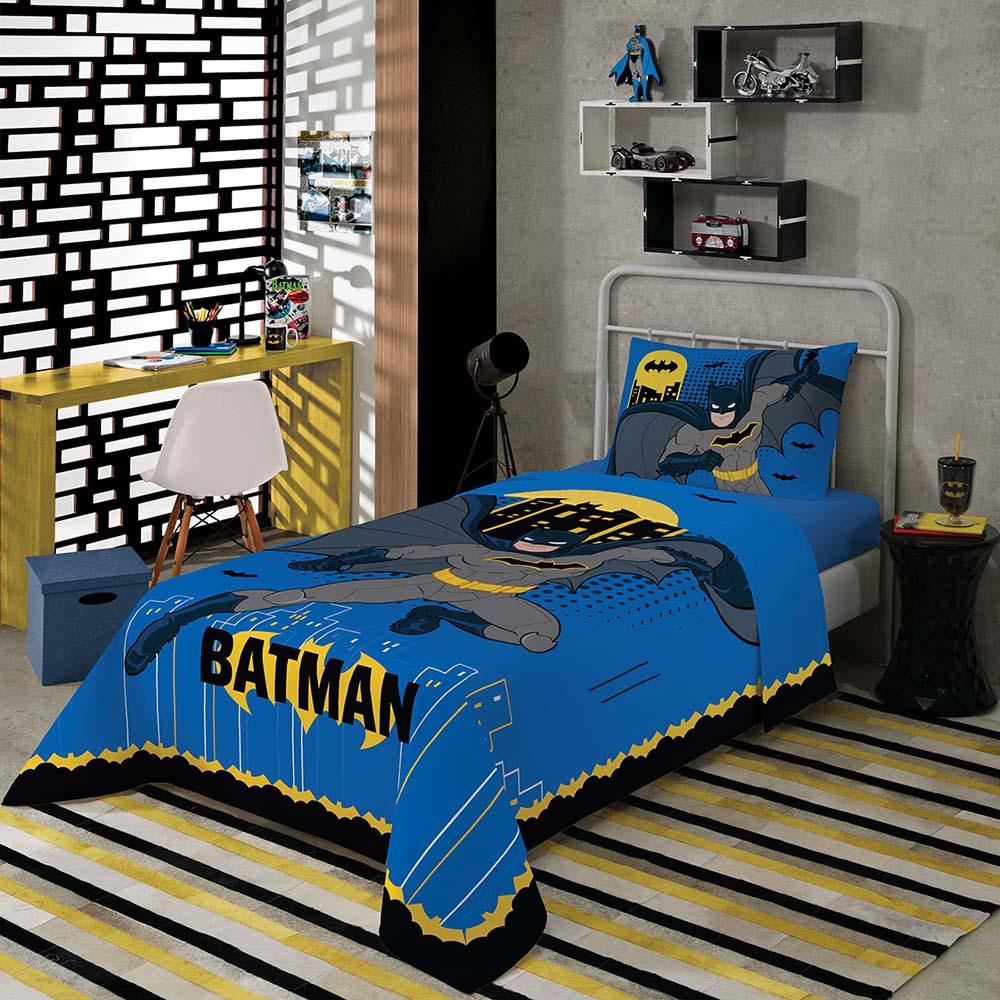 Jogo de Cama Infantil - Batman Divertido - Misto - 3 Peças - Lepper