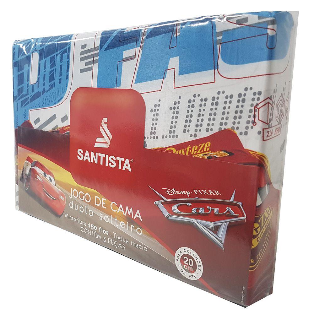 Jogo de Cama Infantil - Carros Fast - Microfibra - 150 Fios - 3 Peças - Santista