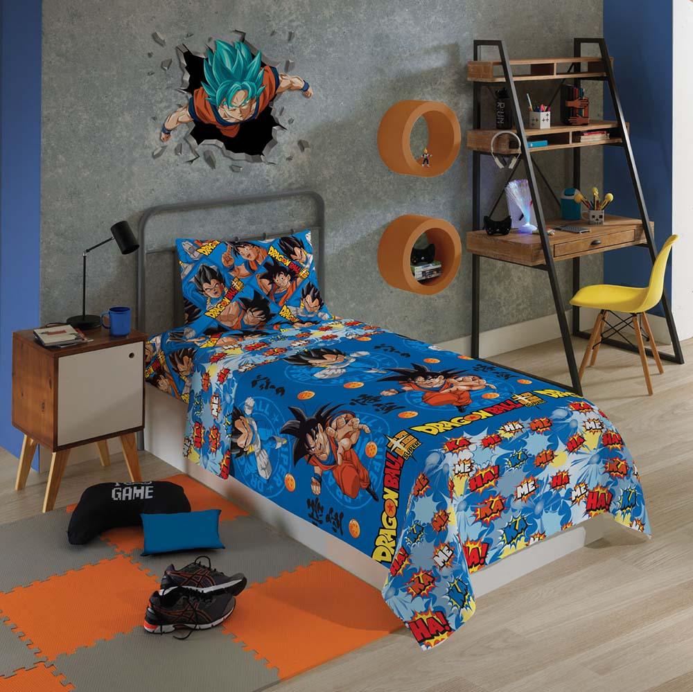 Jogo de Cama Infantil - Dragon Ball Divertido - Microfibra - 3 Peças - Lepper