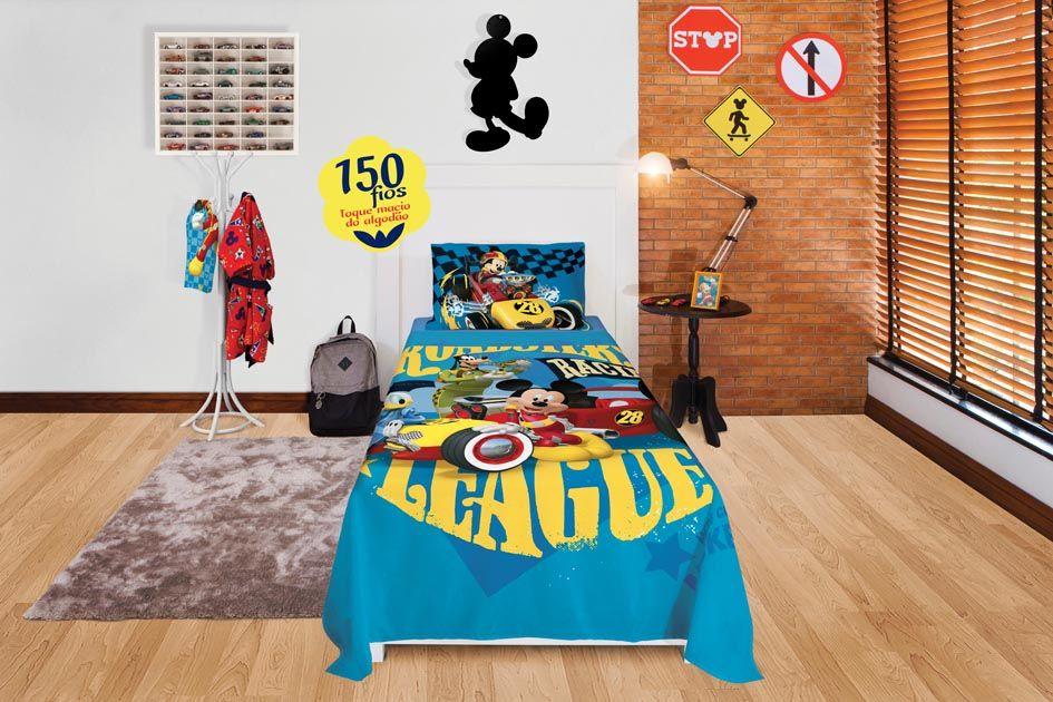Jogo de Cama Infantil - Mickey Aventura Sobre Rodas - 150 Fios - 3 Peças - Lepper