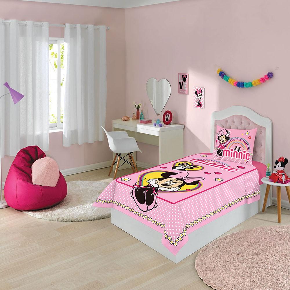 Jogo de Cama Infantil - Minnie Divertido - Misto - 2 Peças - Lepper