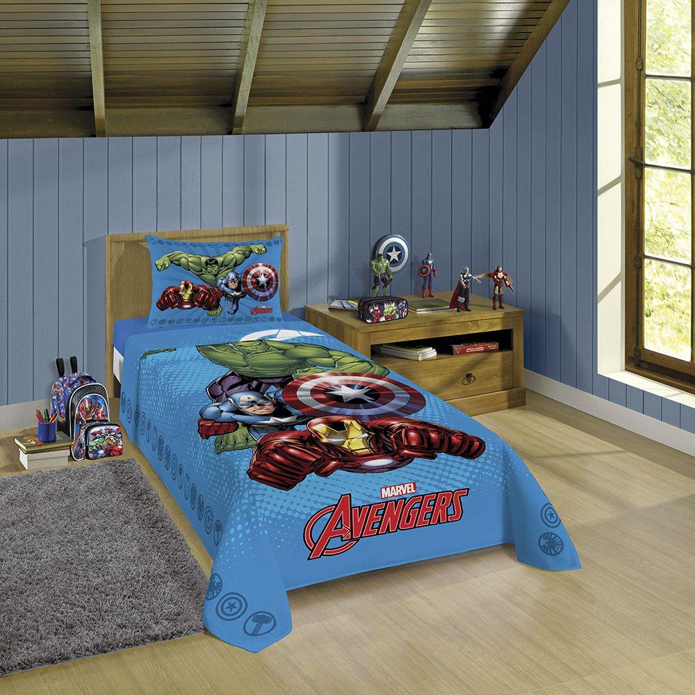 Jogo de Cama Infantil - Vingadores Avengers - Estampado Azul - 3 Peças - Lepper