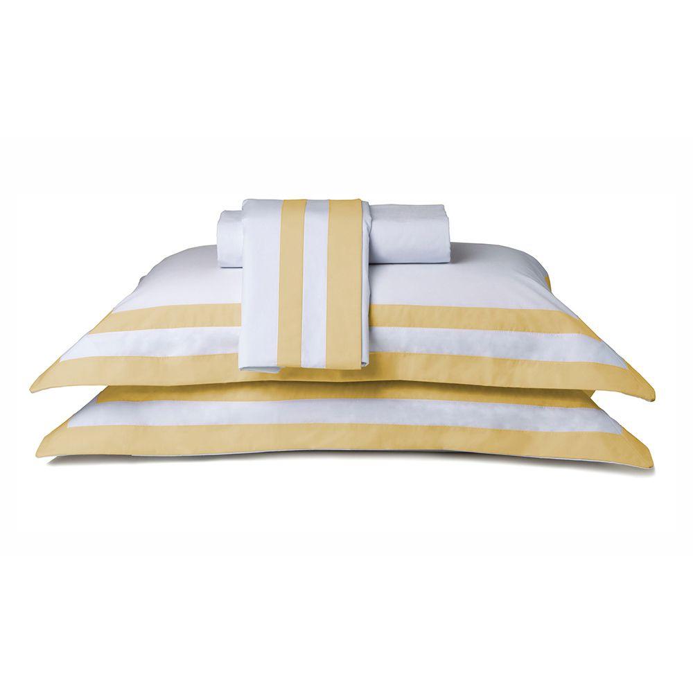 Jogo de Cama - King Size - Percal 200 Fios - Double Amarelo - 4 Peças - 100% Algodão - Naturalle