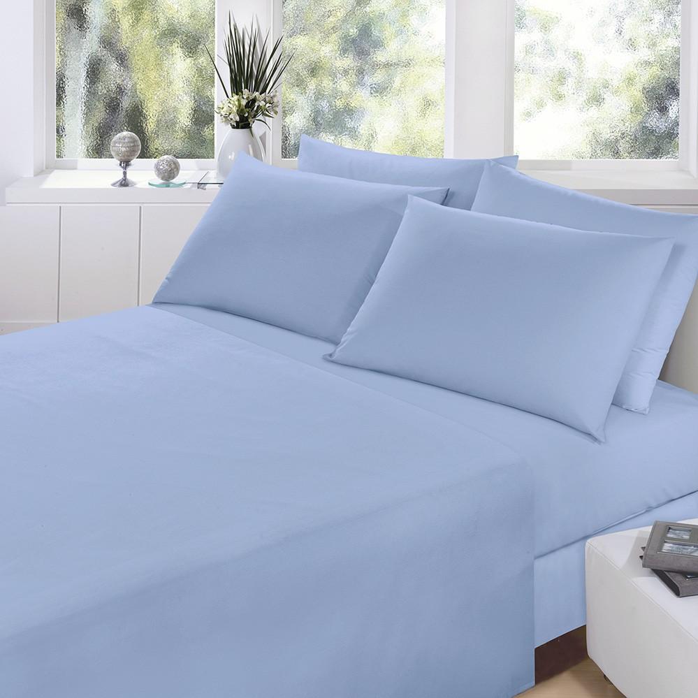 Jogo de Cama - King Size - Prata - 150 Fios - Azul 6547 - 4 Peças - 100% Algodão - Santista