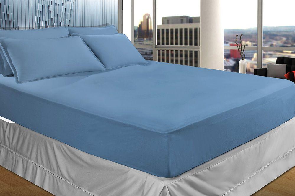 Jogo de Cama Malha - King Size - 3 Peças - 100% Algodão - Azul - SBX