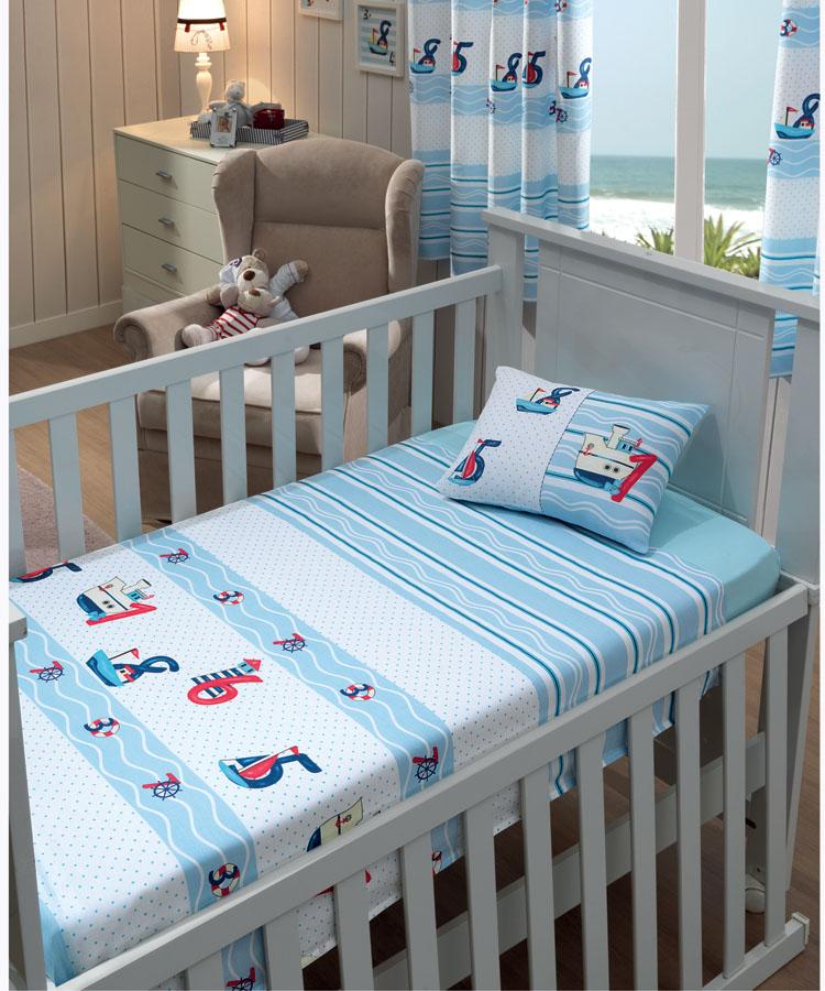 a1b5db7b14 Jogo de Lençol P  Berço - Baby Nautical - 100% Algodão - 3 Peças - Dohler