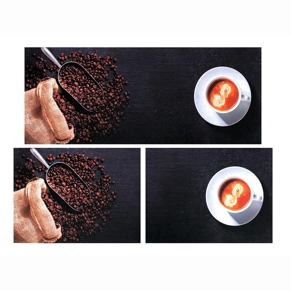 Jogo de Tapete P/ Cozinha - Parma - 3 Peças - Café - Des 005 - Niazitex