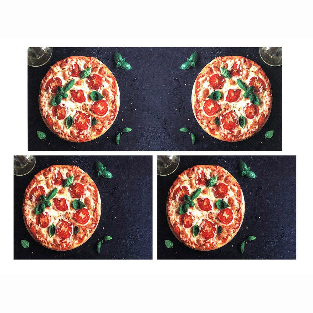 Jogo de Tapete P/ Cozinha - Parma - 3 Peças - Pizza - Des 002 - Niazitex