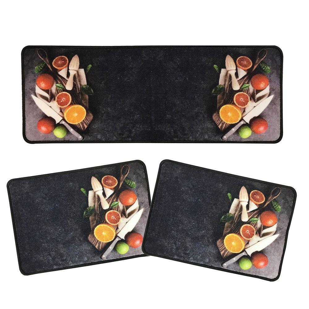 Jogo de Tapete P/ Cozinha - Prime - 3 Peças - Frutas - Des 002 - Niazitex