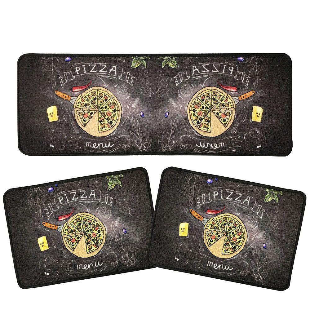 Jogo de Tapete P/ Cozinha - Prime - 3 Peças - Menu Pizza - Des 001 - Niazitex