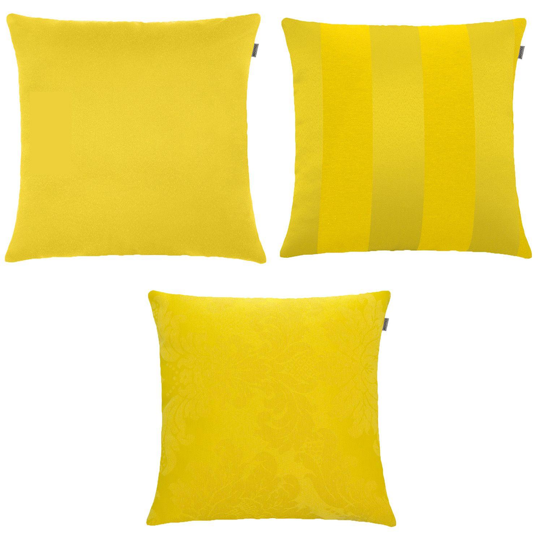 Kit C/ 3 Capas de Almofada - Jacquard - Amarelo  - Adomes