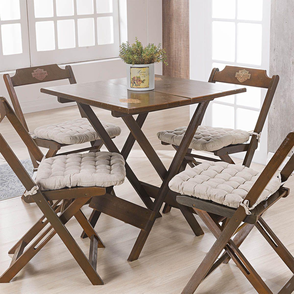 Kit C/ 4 - Assentos P/ Cadeira - Futton - Kalamar - 40cm x 40cm - Areia - Niazitex