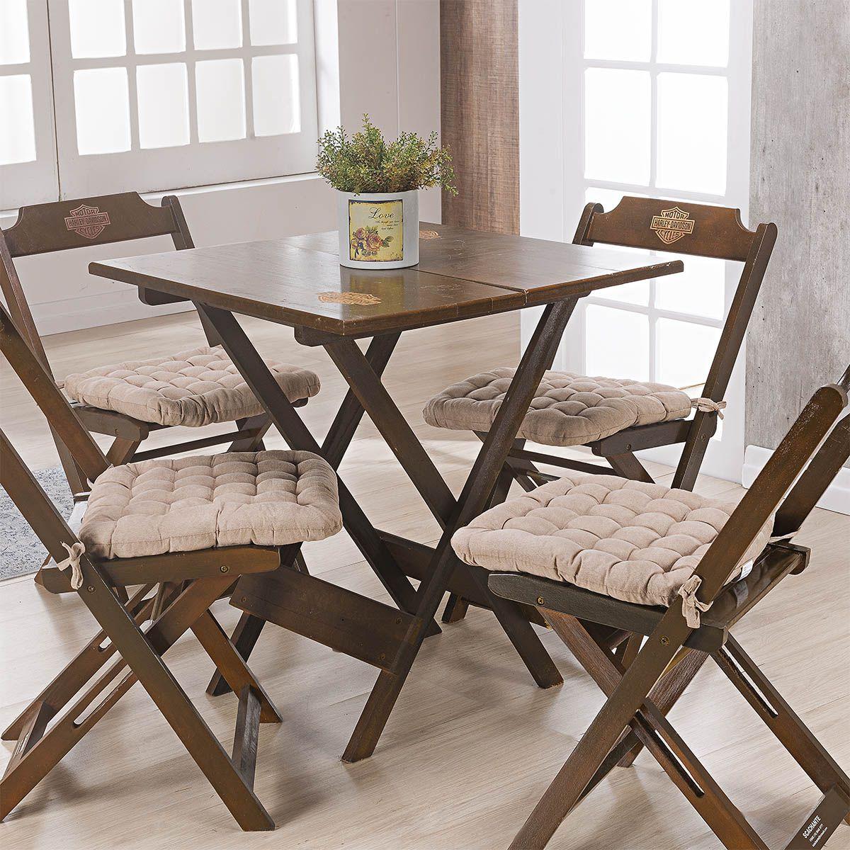Kit C/ 4 - Assentos P/ Cadeira - Futton - Kalamar - 40cm x 40cm - Bege - Niazitex