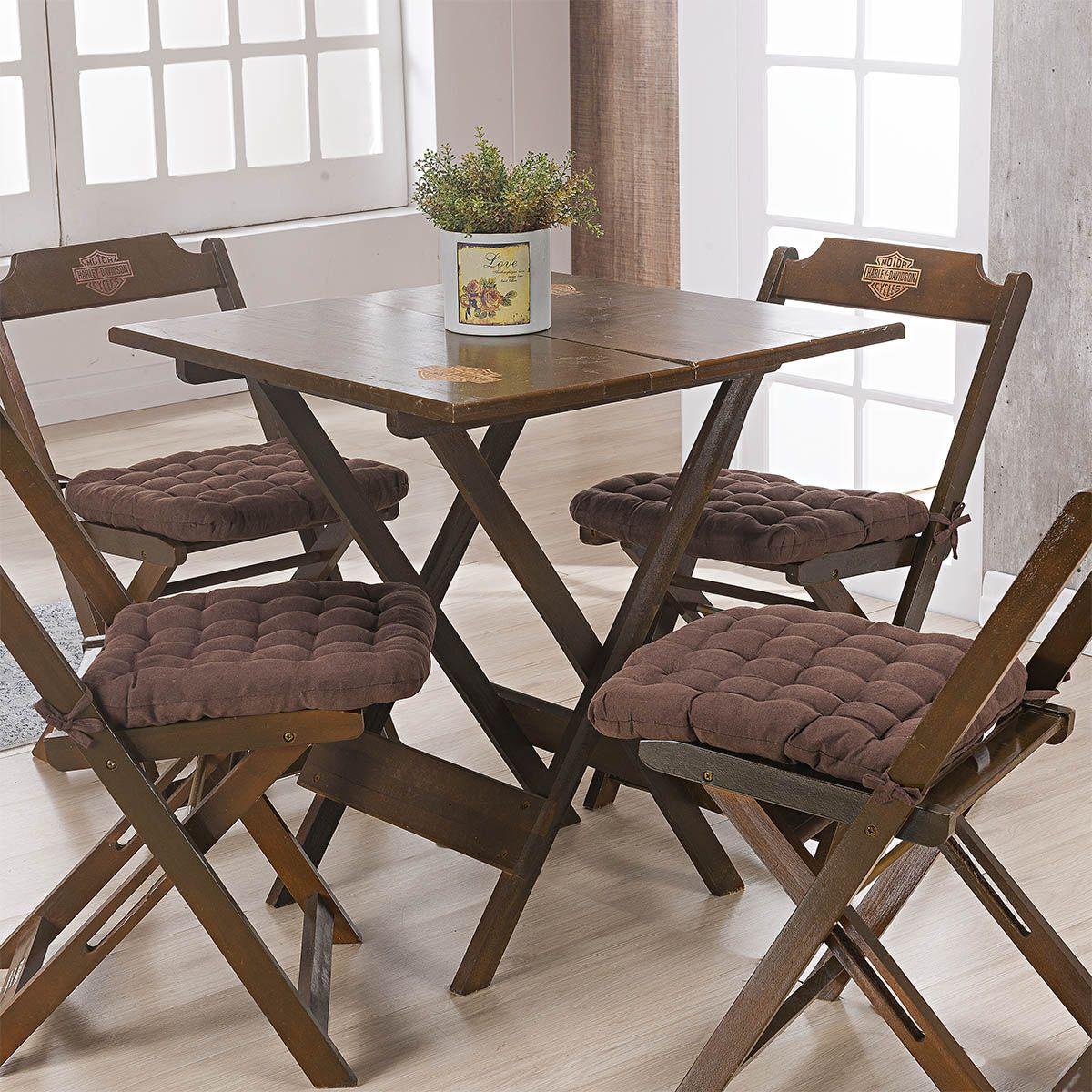 Kit C/ 4 - Assentos P/ Cadeira - Futton - Kalamar - 40cm x 40cm - Chocolate - Niazitex