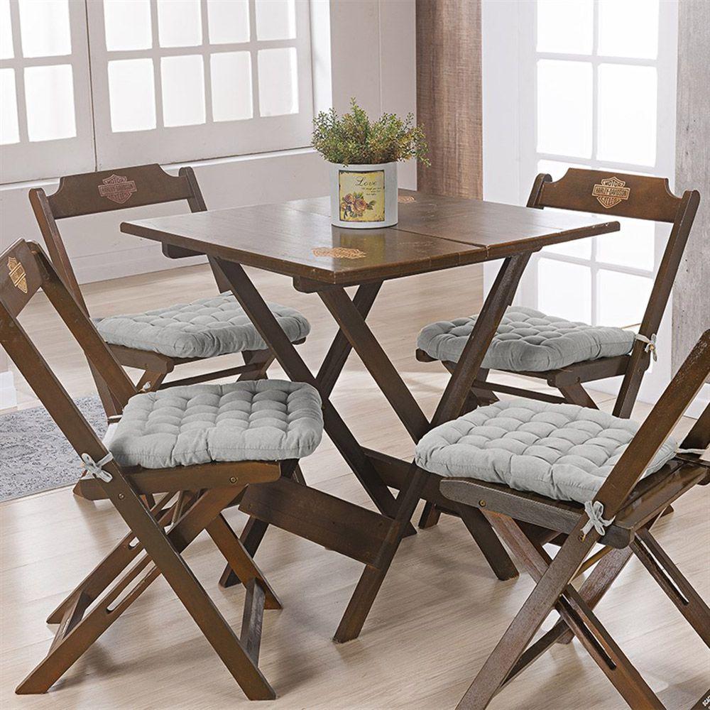 Kit C/ 4 - Assentos P/ Cadeira - Futton - Kalamar - 40cm x 40cm - Cinza - Niazitex