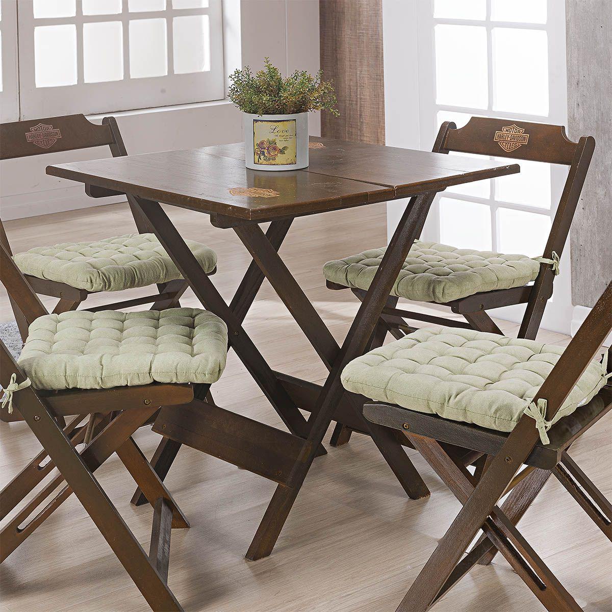 Kit C/ 4 - Assentos P/ Cadeira - Futton - Kalamar - 40cm x 40cm - Verde - Niazitex