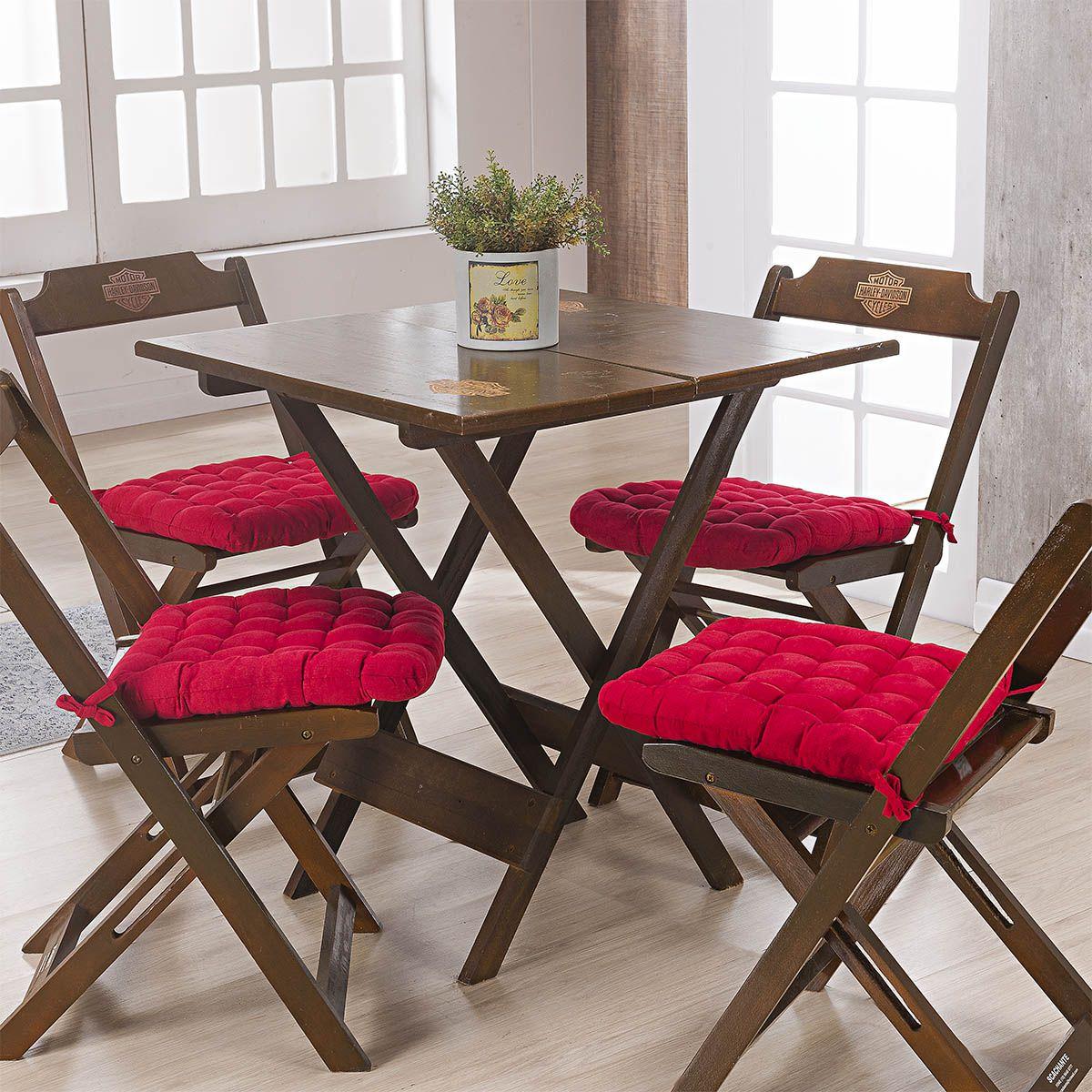 Kit C/ 4 - Assentos P/ Cadeira - Futton - Kalamar - 40cm x 40cm - Vermelho - Niazitex