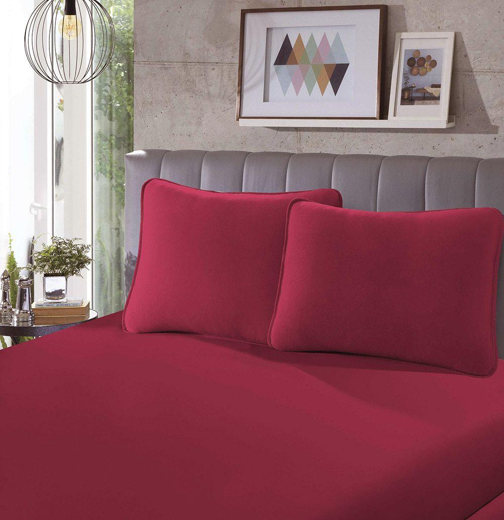 Lençol Avulso Malha - King Size - 100% Algodão - Vermelho - SBX